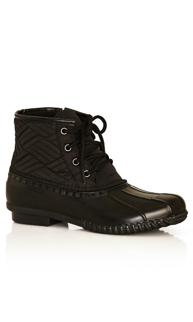 Plus Size Mona Quilted Weather Boot -black