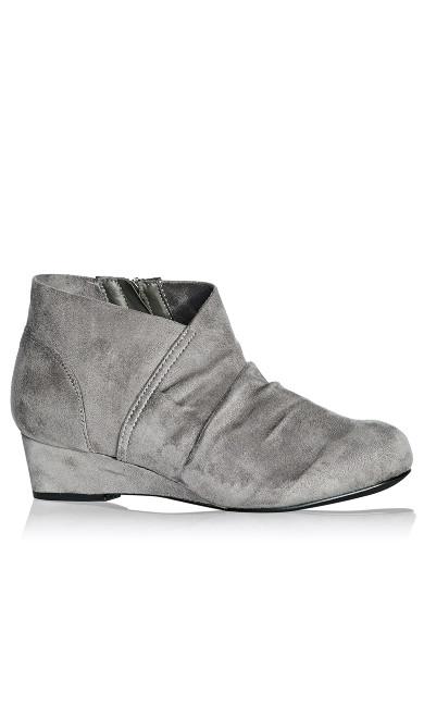 Plus Size Luann Pleated Size Zip Bootie - grey