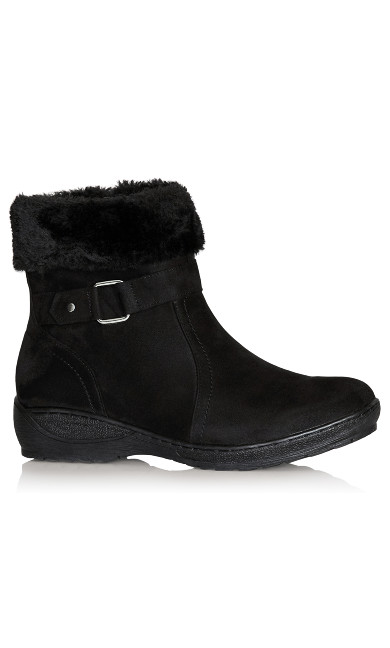 Plus Size Patsy Fur Trim Buckle Boot - black