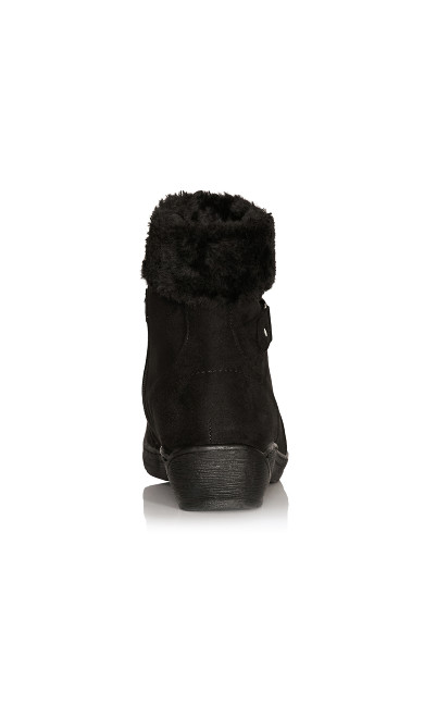 Patsy Faux Fur Trim Buckle Boot - black
