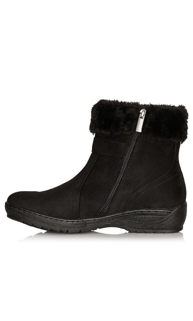 Patsy Faux Fur Trim Buckle Boot - black