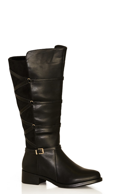 Plus Size Thea Strappy Lace Up Riding Boot - black