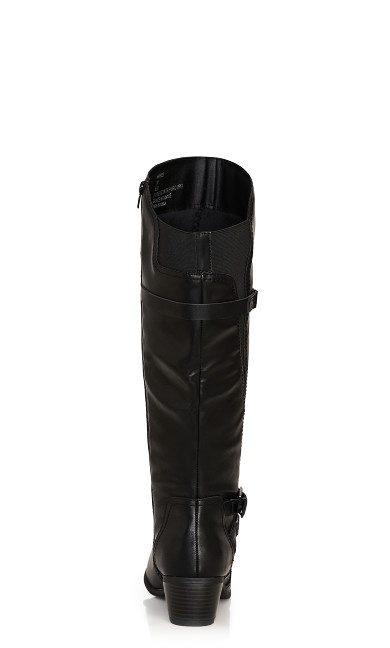 Harriet Double Buckle Tall Boot - black