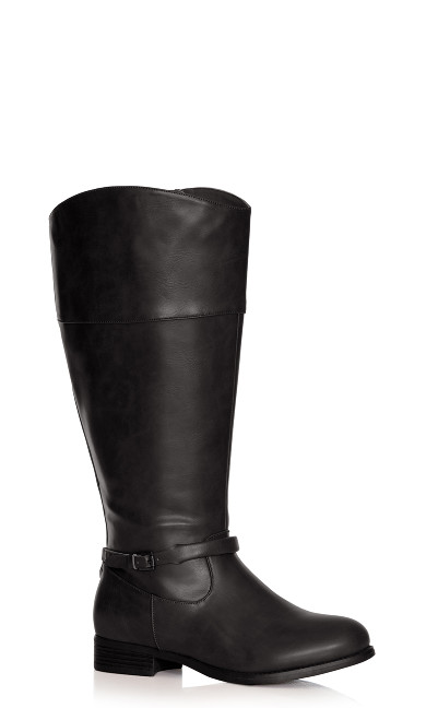 Plus Size Heather Basic Riding Boot - black