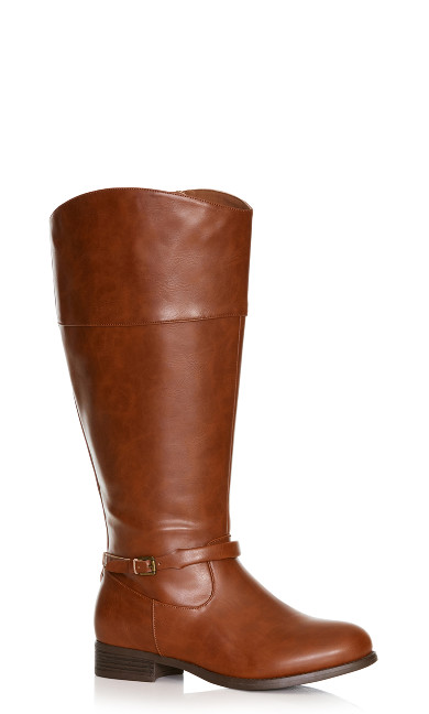 Plus Size Heather Basic Riding Boot - cognac