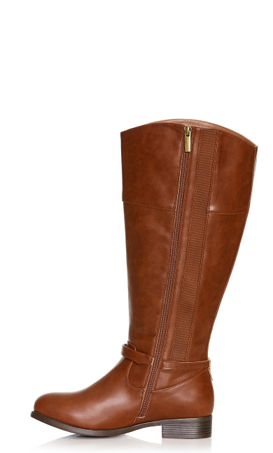 Heather Basic Riding Boot - cognac