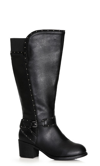 Plus Size Yves Stud Detail Boot - black