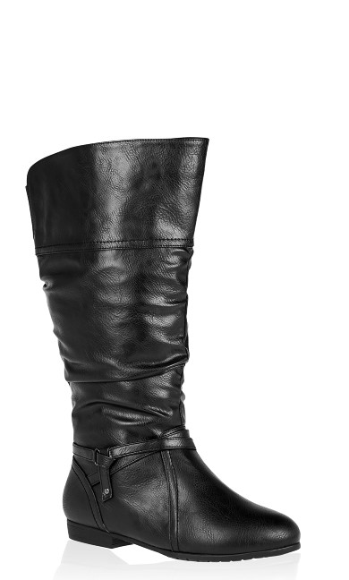 Plus Size Chelsea Ruched Tall Boot - black