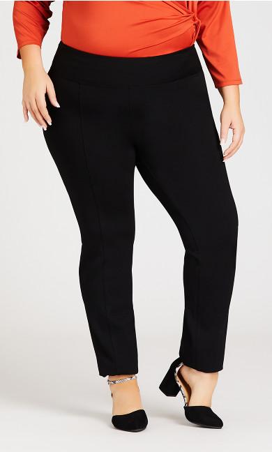 Ponte Knit Tummy Control Pull-On Pant Black - average