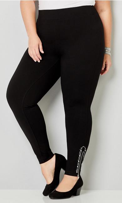 Ponte Zip Embellished Legging - black