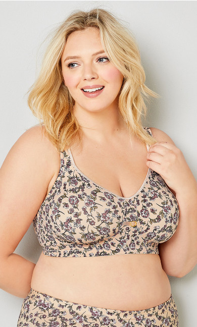 Plus Size Pink Floral Print Soft Caress Wire Free Bra