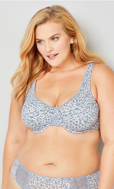 Plus Size Blue Animal Smooth Caress Underwire Bra