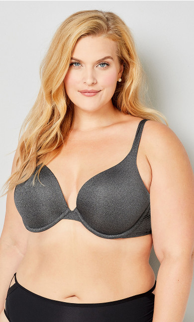 Plus Size Grey Heather Plunge Bra
