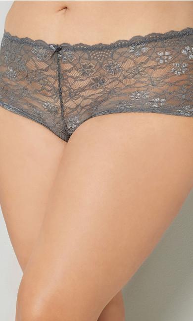 Plus Size Grey Lace Cheeky Panty