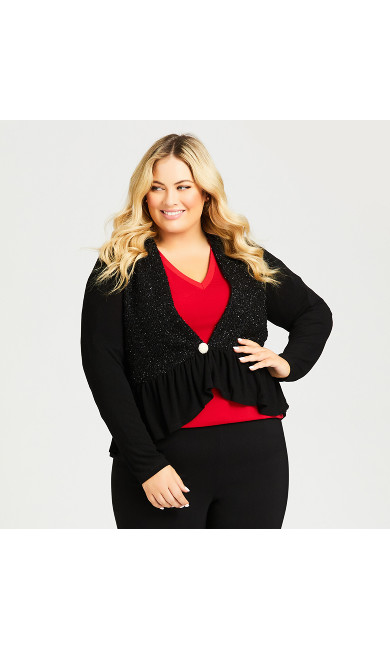 Plus Size Metallic Ruffle Hem Cardi - black