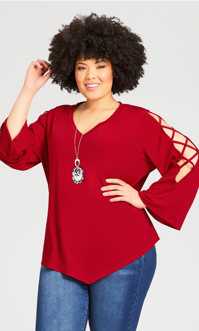 Plus Size V Neck Cage Sleeve Top - sangria