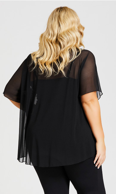 Sheer Embellished Overpiece - black