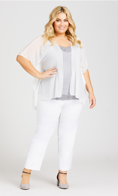 Plus Size Sheer Embellished Overpiece - off white