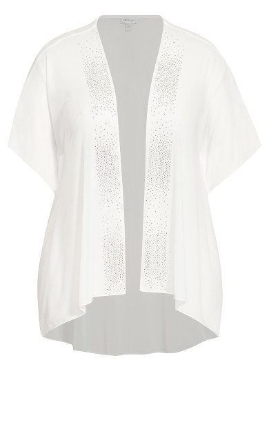 Sheer Embellished Overpiece - off white