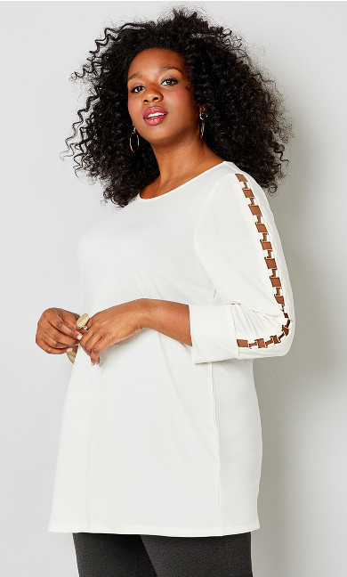 Plus Size Hardware Caged Sleeve Top - white