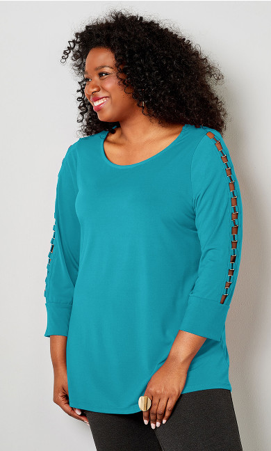 Hardware Caged Sleeve Top - blue