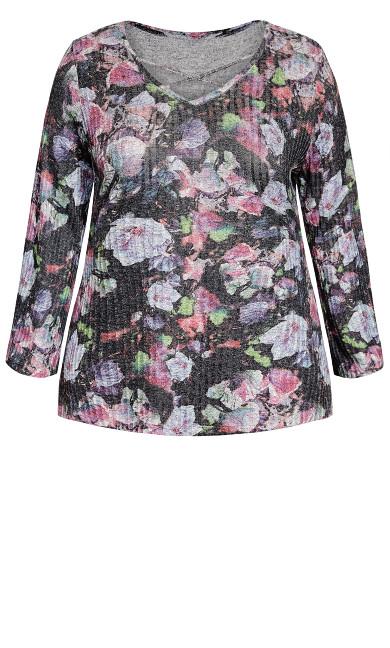 Floral Hacci Ribbed Tunic - multi