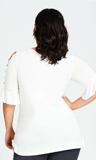 Sparkle Caged Sleeve Tunic Top - white