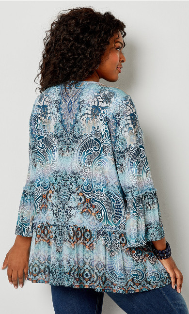 Paisley Caged Neck Babydoll Top - blue