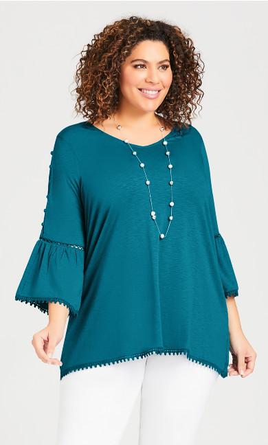 Plus Size Split Sleeve Crochet Trim Top - lagoon blue