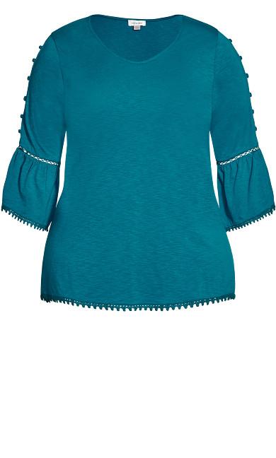 Split Sleeve Crochet Trim Top - lagoon blue