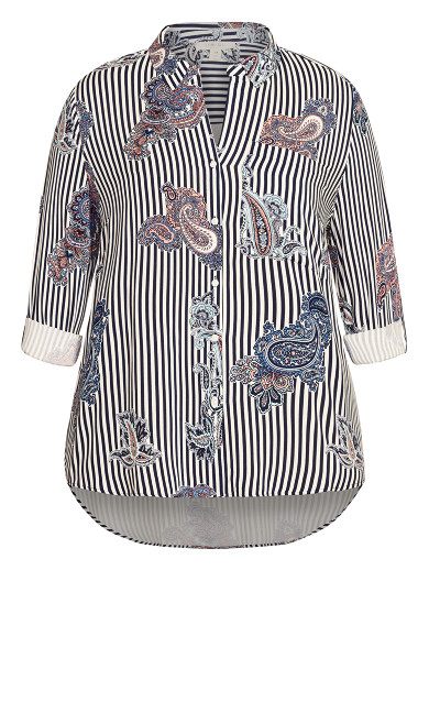 Paisley 3/4 Sleeve Top - blue