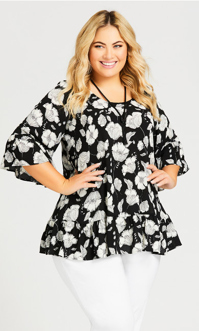 Plus Size Ruffle Trim Floral Blouse - black floral