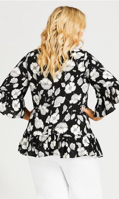 Ruffle Trim Floral Blouse - black floral