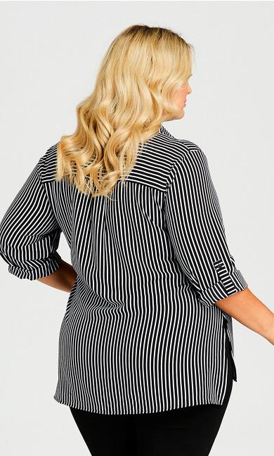 Striped Button Front Hi Lo Tunic - black