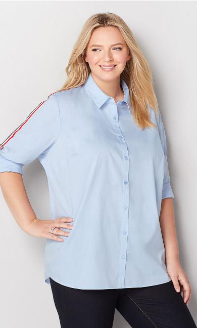 Contrast Trim Button Front Shirt - blue
