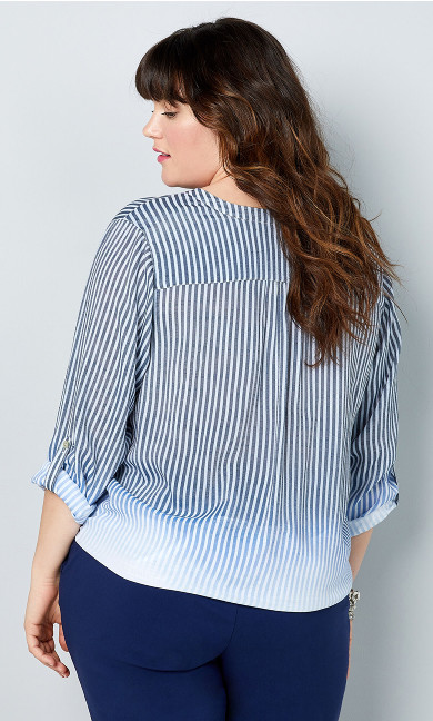 Ombre Stripe Tie Front Shirt - ivory