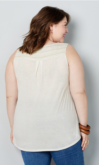 Striped Tie Front Sleeveless Top - natural