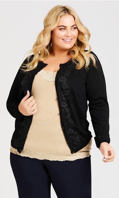 Plus Size Embroidered Jackie O Cardigan - black