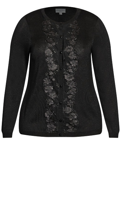 Embroidered Jackie O Cardigan - black