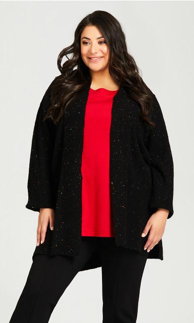 Plus Size Colorful Speckles Long Cardigan - black