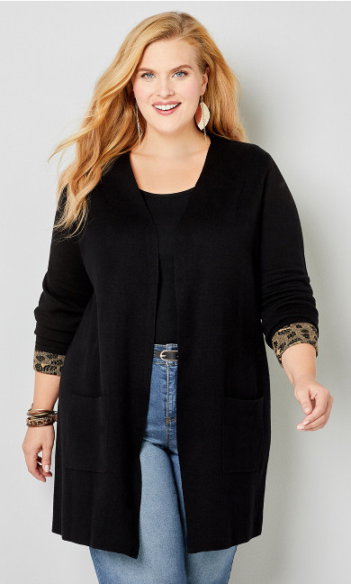 Leopard Accented Coatigan-Plus Size Cardigans-Avenue