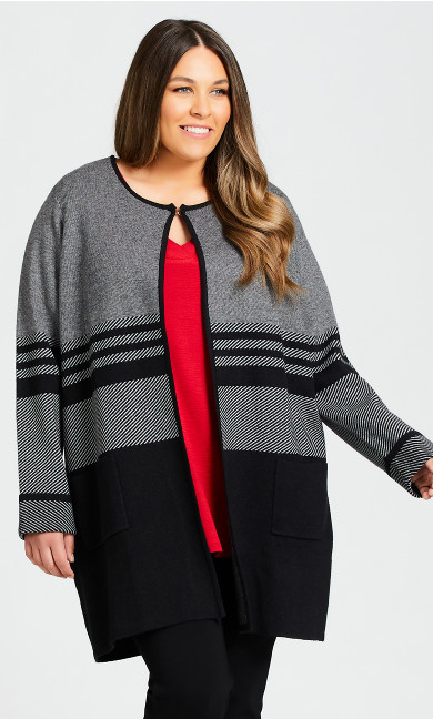 Plus Size Marled Colorblock Sweater - black