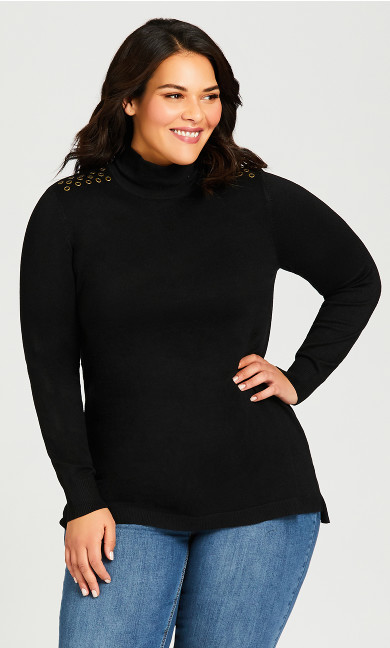Plus Size Stud Detail Mock Neck Sweater Tunic - black