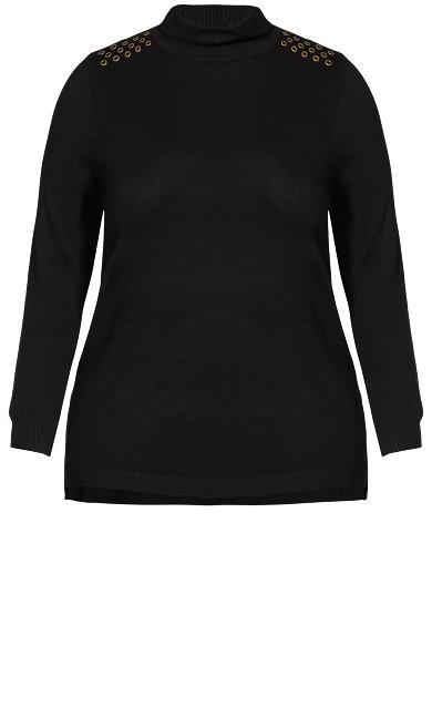 Long Sleeve Scrunch Sweater - black
