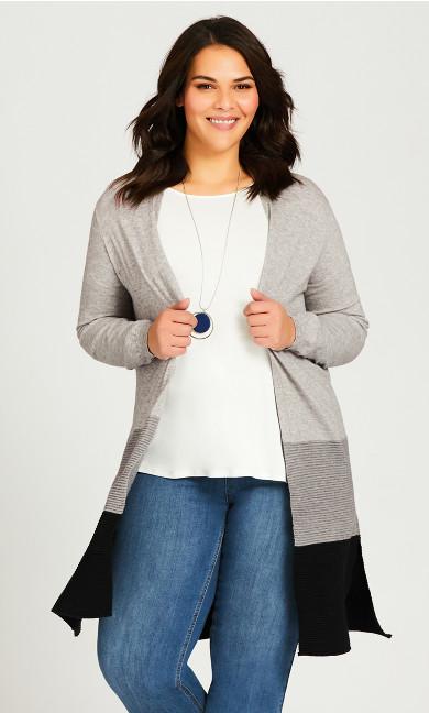 Plus Size Plaid Blazer-Style Sweater - grey