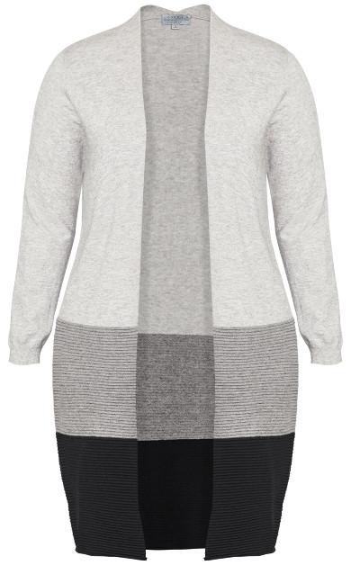 Color Block Cardigan - gray