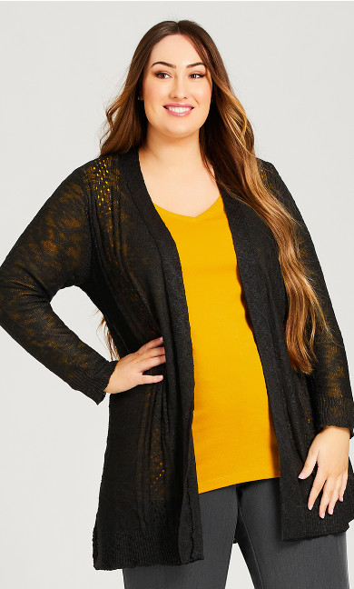 Plus Size Pointelle Accented Cardi  - black