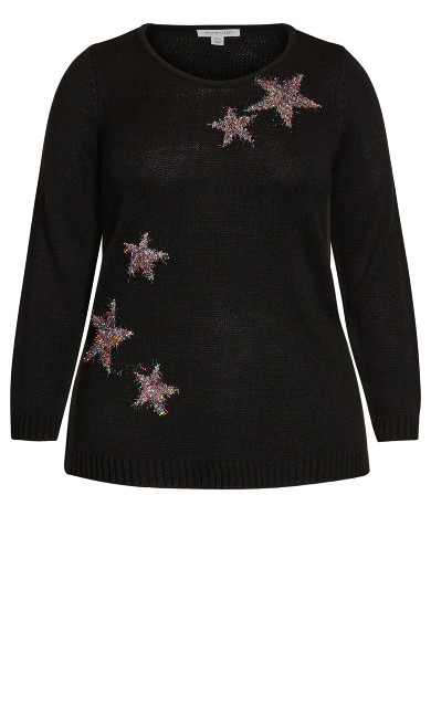 Metallic Star Sweater - black