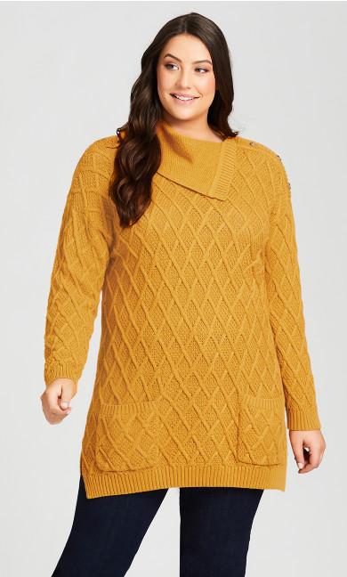 Plus Size Button Split Neck Sweater - gold