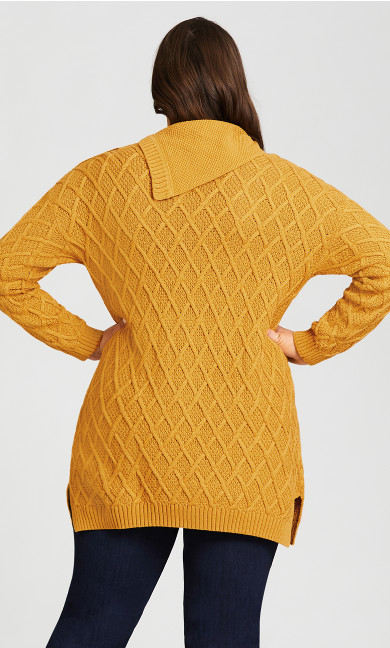 Button Split Neck Sweater - yellow